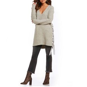 Free People Grey Heart It Laces Sweater